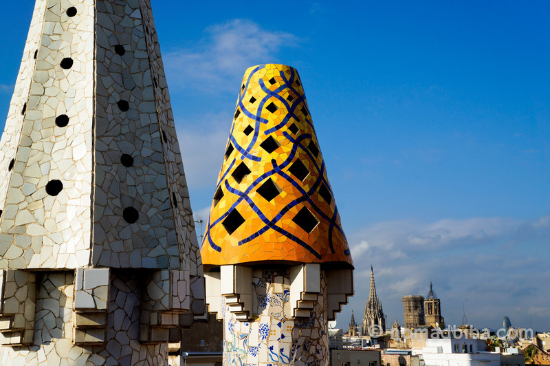 Chimneys at Palau Guell in Barcelona, Spain