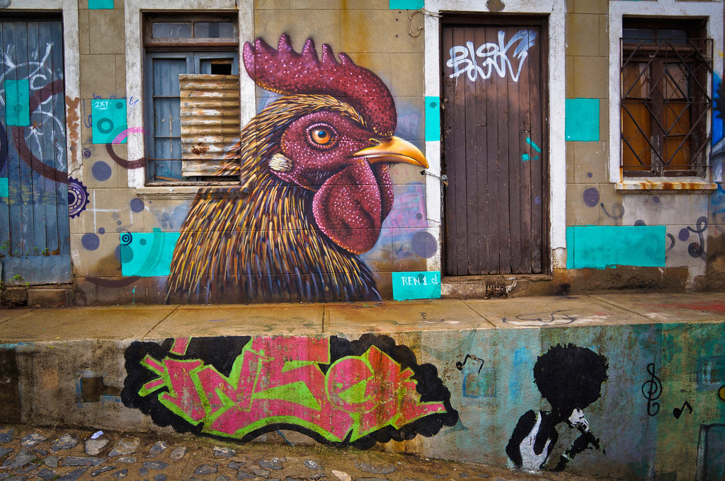 Street art in Valparaiso, Chile: REN