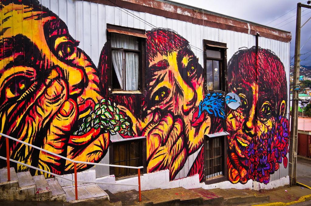 Street art in Valparaiso, Chile: Bastardilla