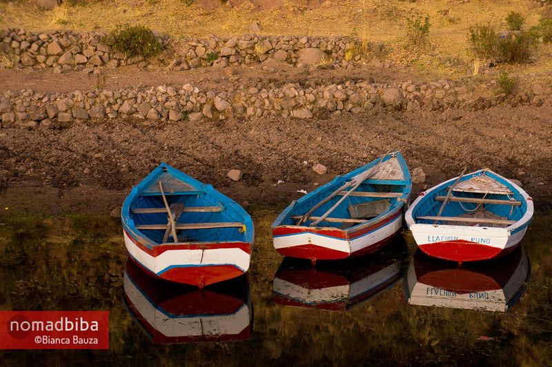 Lake Titicaca: Boats in Llachón, Capachica peninsula
