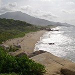 Arriving at the beach in Tayrona National Park (Colombia)