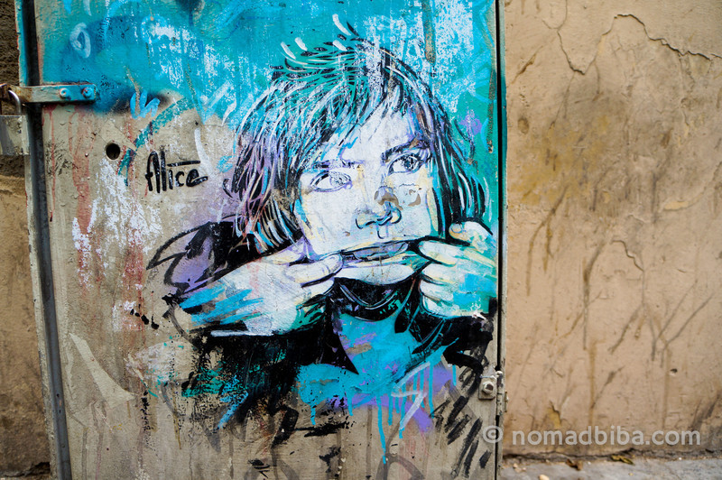 Alice stencil art in Barcelona