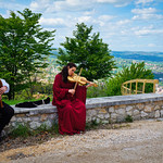 Playing at the Rocca di Narni in Italy