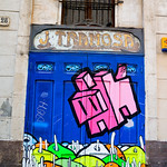 Barcelona door with street art