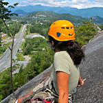 Taking a rest on Banana Peel, you can still see my bandage For the story, check out my post: Rock Climbing in Squamish BC, Canada