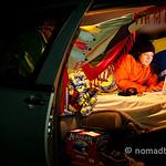 Working on my laptop in our van at Skaha, Penticton B.C.