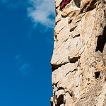 Climbing test of Ironman 5.11b, Skaha Bluffs, Penticton B.C.